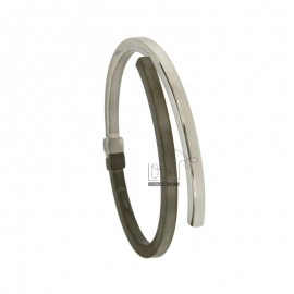OVAL BANGLE 4 MM SILVER RHODIUM PLATED POLISHED AND SATIN RUTHENIUM TIT 925 ‰