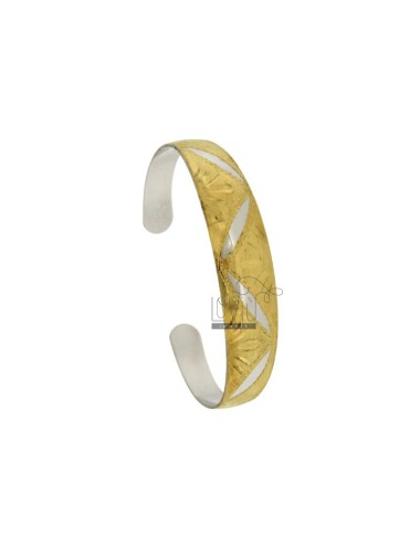 BANGLE MM 12 LEAVES WITH ENGRAVED SILVER PLATED RHODIUM AND GOLD COLOURED TIT 925 ‰