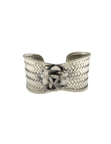 BANGLE 33mm SILVER RHODIUM TIT 925 ‰ WITH CENTRAL FLOWER IN RELIEF