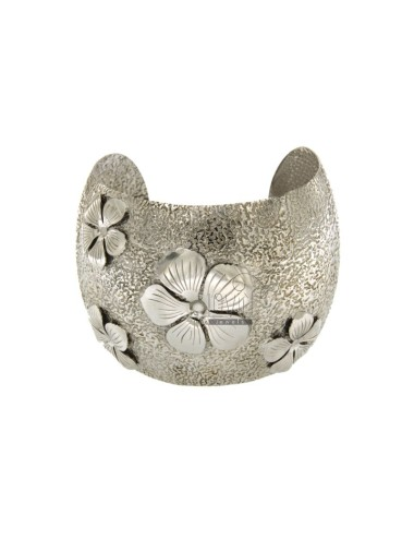 SLAVE BRACELET 50 MM SILVER RHODIUM HAMMERED TIT 925 ‰ APPLIED WITH FLOWERS IN RELIEF