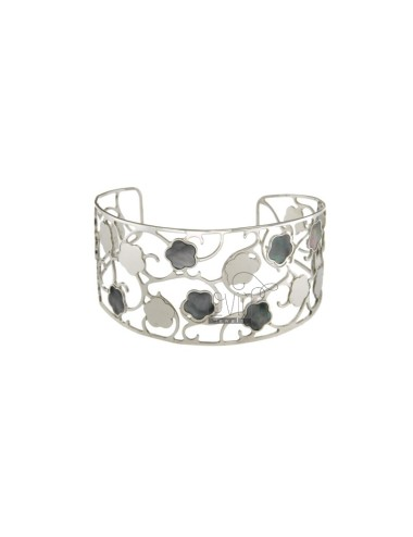 BANGLE 31 MM WITH FLOWERS MOTHER OF PEARL SILVER RHODIUM TIT 925 ‰