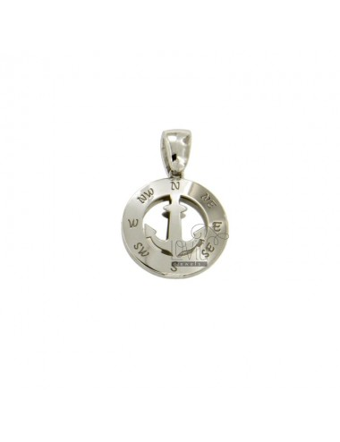 PENDANT 14 MM ROUND WITH CENTRAL AND HACKED AGAIN The four CARDINAL POINTS IN SILVER RHODIUM TIT 925 ‰