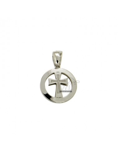 PENDANT 14 MM ROUND WITH CENTRAL CROSS IN SILVER RHODIUM TIT 925 ‰