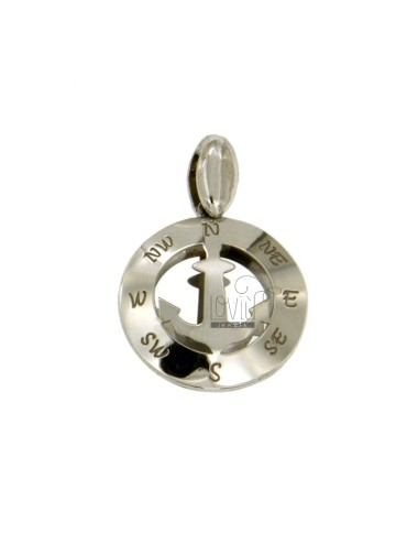 PENDANT 20 MM ROUND WITH CENTRAL AND HACKED AGAIN The four CARDINAL POINTS IN RHODIUM TIT 925 ‰