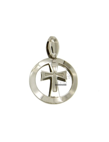 PENDANT 20 MM ROUND WITH CROSS IN CENTRAL RODIATO TIT 925 ‰