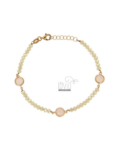 BRACELET CABLE, WASHERS WHITE STONE AND ZIRCONIA faceted ROSA SILVER COPPER TIT 925 ‰ CM 18.20