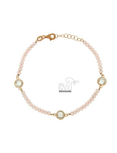 BRACELET CABLE, WASHER AND STONE ROSE faceted ZIRCONIA WHITE SILVER COPPER TIT 925 ‰ CM 18.20