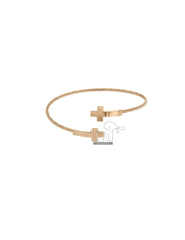 BANGLE MM 2 CONTRARY WITH CROSSES IN SILVER ROSE GOLD PLATED TIT 925