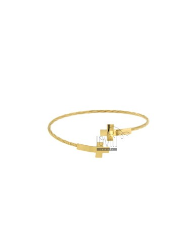 BANGLE MM 2 CONTRARY WITH CROSSES IN SILVER GOLD PLATED TIT 925