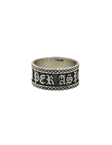 BAND RING WITH 10 MM PER ASPERA AD ASTRA SILVER BRUNITO TIT 925 MEASURE 22