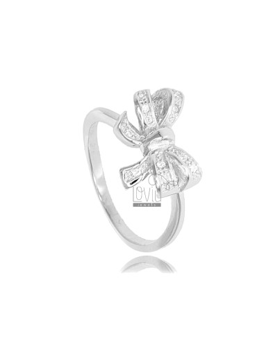 BOW RING IN RHODIUM-PLATED...