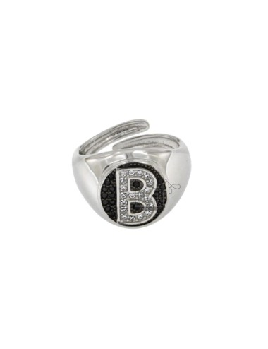 PINKY RING 13x11 MM OVAL WITH LETTER B WITH ZIRCONIA WHITE AND BLACKS IN SILVER RHODIUM TIT 925 ‰ MIS ADJUSTABLE FROM 9