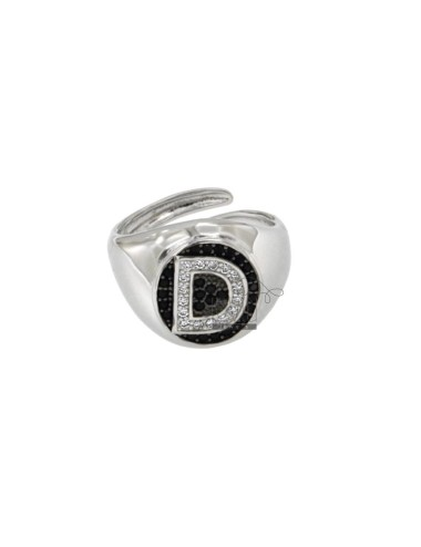 PINKY RING 13x11 MM OVAL WITH LETTER D WITH ZIRCONIA WHITE AND BLACKS IN SILVER RHODIUM TIT 925 ‰ MIS ADJUSTABLE FROM 9