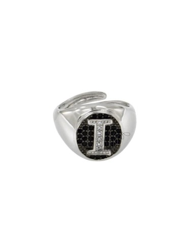 PINKY RING 13x11 MM OVAL WITH LETTER I WITH ZIRCONIA WHITE AND BLACKS IN SILVER RHODIUM TIT 925 ‰ MIS ADJUSTABLE FROM 9