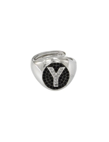 RING MIGNOLO MM OVAL 13x11 WITH LETTER Y WITH ZIRCONIA WHITE AND BLACKS IN SILVER RHODIUM TIT 925 ‰ MIS ADJUSTABLE FROM 9