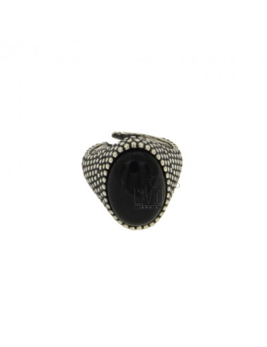 OVAL RING 17x11 MM WITH MICRO SILVER BRUNITO TIT 925 ‰ AND ONYX BLACK SIZE ADJUSTABLE MIGNOLO