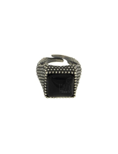 13X13 MM SQUARE RING WITH MICRO SILVER BRUNITO TIT 925 ‰ AND ONYX BLACK SIZE ADJUSTABLE MIGNOLO