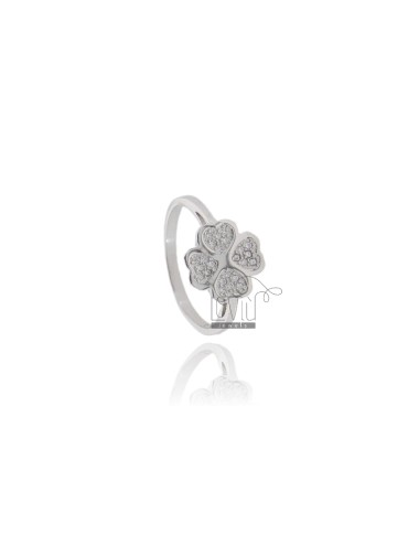 FOUR-LEAF CLOVER RING IN SILVER RHODIUM-PLATED TIT 925 ‰ AND ZIRCONS SIZE 12