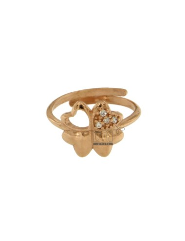 RING CLOVER MM 12X12 WITH INSERT PAVE &39OF ZIRCONIA SILVER COPPER TIT 925 ‰ SIZE ADJUSTABLE