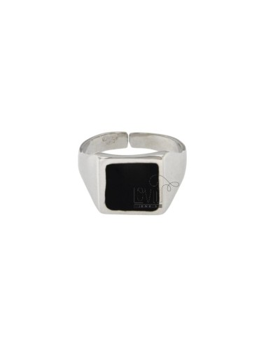 RING ADJUSTABLE SQUARE MM 13X13 SILVER RHODIUM TIT 925 AND GLAZE