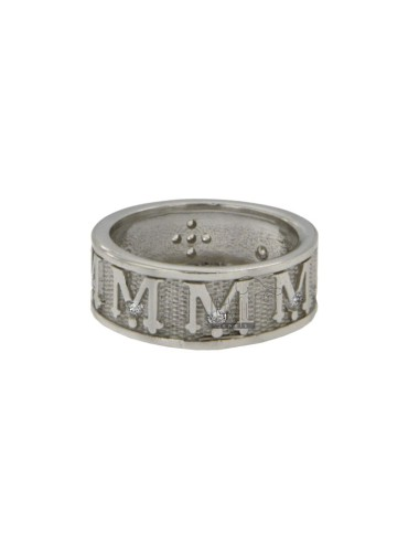 SACRED BUTTON RING MM 8 VIRGIN MARY WITH SILVER SILVER RING TIT 925 ‰ MEASURE 21