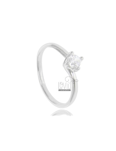 SOLITAIRE RING VALENTINO MODEL IN RHODIUM-PLATED SILVER TIT 925 ‰ AND ZIRCON MM 4 SIZE 16