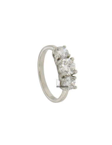TRILOGY RING IN SILVER RHODIUM TIT 925 ‰ WITH ZIRCONIA MM 5.6.5 MEASURE 12