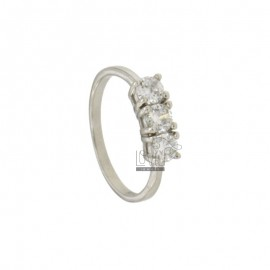 TRILOGY RING IN SILVER RHODIUM TIT 925 ‰ AND ZIRCONIA MM 4 MEASURE 12