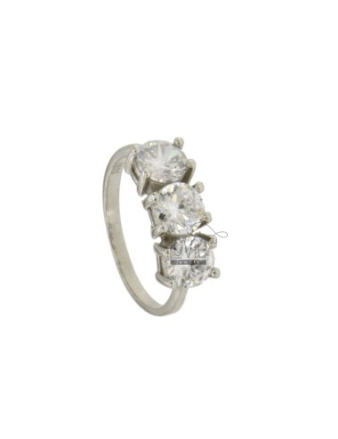 TRILOGY RING IN SILVER RHODIUM TIT 925 ‰ AND ZIRCONIA MM 6 MEASURE 14