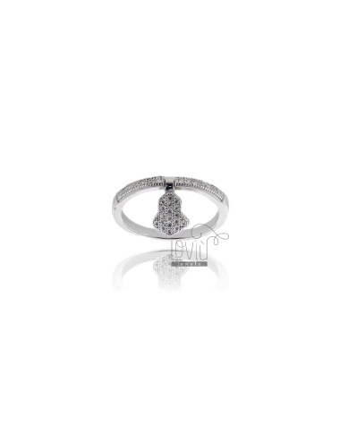 VERETTA RING WITH HAND OF FATIMA PENDANT SILVER TIT 925 ‰ AND ZIRCONIA MEASURE 18