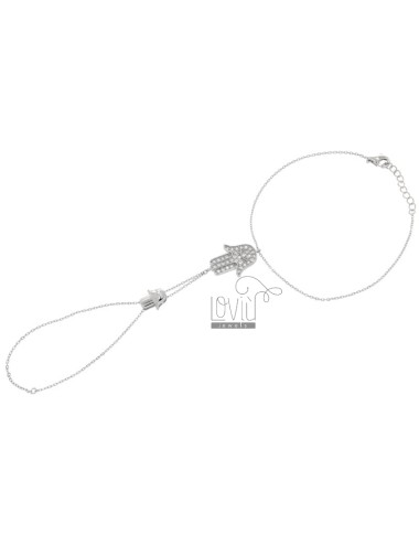 SLEEP CABLE WITH DOUBLE HAND OF FATIMA CENTRAL WITH ZIRCONIA IN SILVER RHODIUM TIT 925 ‰