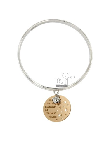 BRACELET A CIRCLE WITH MEDAL ROUND PENDANT 25 MM THE WORLD HAS ONLY NEED PEOPLE HAPPY AND bell RHODIUM SILVER AND COPPER TIT 925