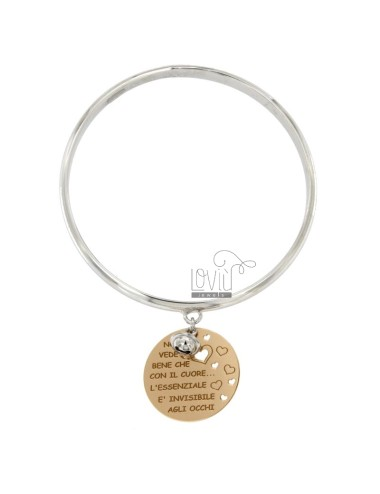 BRACELET A CIRCLE WITH MEDAL ROUND PENDANT 25 MM NOT GOOD THAT YOU SEE WITH YOUR HEART ... AND ESSENTIAL &39INVISILIBE EYE AND