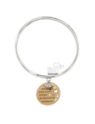 BRACELET A CIRCLE WITH MEDAL ROUND PENDANT 25 MM ARE ALL GREAT BUT FEW SMALL STATES IF THEY RECALL and Tinker Bell RHODIUM SILVE
