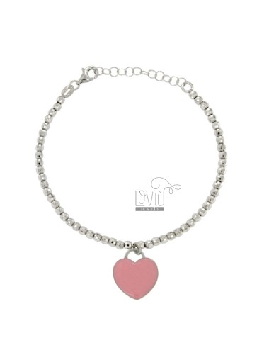 BRACELET SPHERES faceted MM 3 Hang WITH A HEART MM 15X16 A PLATE GLAZED ROSE IN AG TIT RODIATO 925 CM 17 STRETCH TO 20