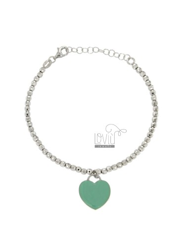 BRACELET SPHERES faceted MM 3 Hang WITH A HEART MM 15X16 A PLATE GLAZED GREEN TIFFANY IN AG TIT RODIATO 925 CM 17 STRETCH TO 20