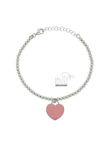 BRACELET WITH BALL MM 3 Hang HEART MM 15X16 A PLATE WITH POLISH ROSA IN AG TIT RODIATO 925 CM 17 STRETCH TO 20