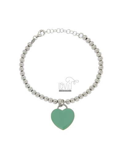 BRACELET BALL 4 MM WITH A HEART Hang MM 20x18 A PLATE WITH GREEN GLAZE TIFFANY IN AG TIT RODIATO 925 CM 17 STRETCH TO 20