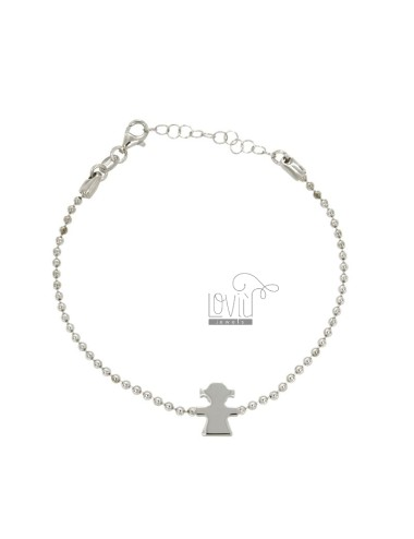 BRACELET WITH CHAIN BALLS MM 2 CENTRAL AND GIRL IN SILVER RHODIUM TIT 925 ‰ CM 18.20