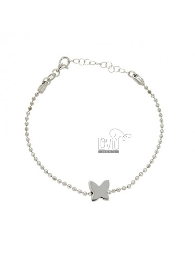 BRACELET WITH CHAIN BALLS MM 2 BUTTERFLY AND CENTRAL SILVER RHODIUM TIT 925 ‰ CM 18.20