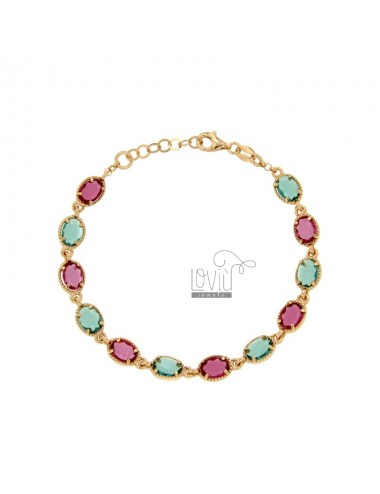 BRACELET WITH STONES HYDROTHERMAL OVAL GREEN OIL AND PINK SILVER COPPER TIT 925 CM 18