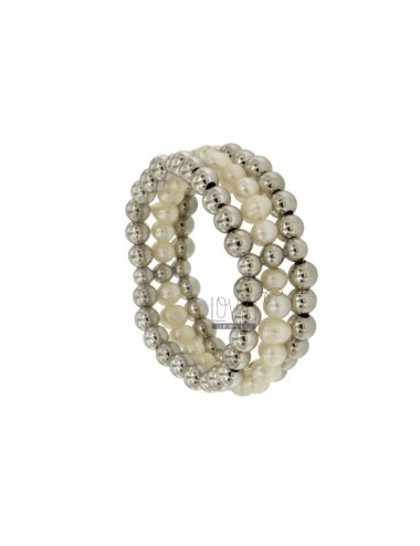 Bangle Bracelet 3 WIRES WITH BALLS AND NATURAL PEARLS SILVER RHODIUM TIT 925