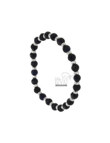 BLACK AGATURAL BRACKET BRACELET MM 6 WITH SILVER BALLS TIT 925