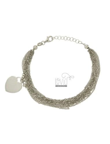 BRACELET WIRE CABLE 12 WITH HEART PENDANT 14 MM SILVER RHODIUM TIT 925 ‰ CM 17.20