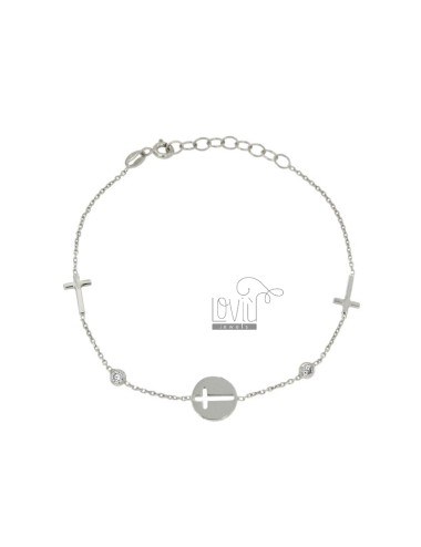 CABLE BRACELET WITH CROSSES IN SILVER AND ZIRCONIA RHODIUM TIT 925 ‰ 18 CM
