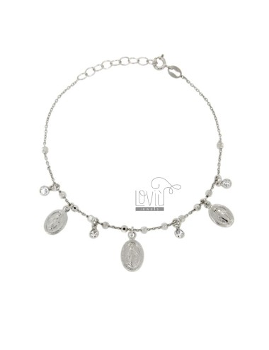 CABLE BRACELET WITH BALLS faceted, SACRED AND MEDALS IN SILVER RHODIUM ZIRCONIA TIT 925 ‰ 18 CM