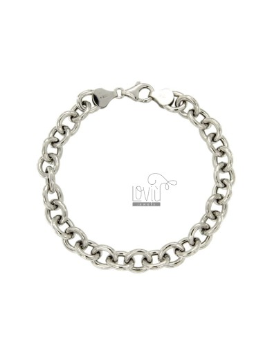 BRACELET CABLE MM 10X8 ROD 2 MM 20 CM IN RHODIUM SILVER TITLE 925 ‰