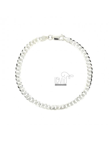 Curb BRACELET EXTRA SLIM FLAT 4 MM 19.5 CM IN SILVER 925 ‰