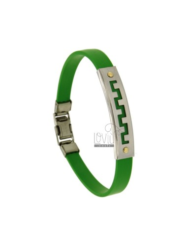 RUBBER BRACELET IN &39GREEN PLATE WITH THROUGH GREEK STEEL WITH Bilamina small screws IN BRASS AND GOLD