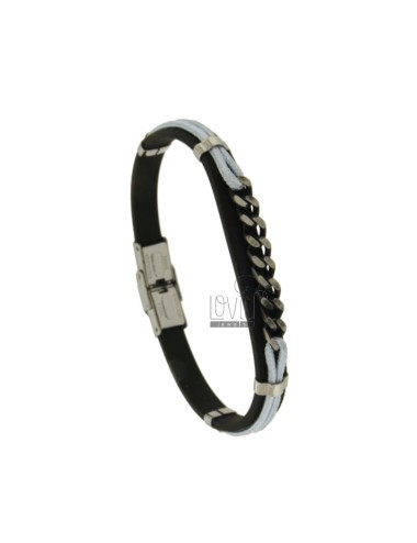 MM 8 MOUNTED BRACELET AND WHITE ROPE WITH STEEL CENTRAL GRID